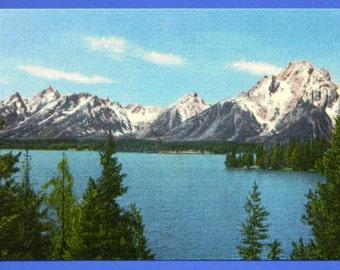 Union Pacific Railroad Postcard Jackson Lake and Teton Mountains Wyoming Mint 17556