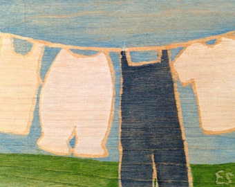 """5x7"""" on wood, ready to hang, """"Overalls and Bloomers"""""""
