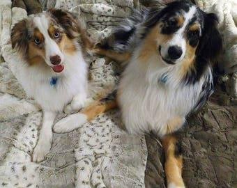 Dog Blanket - Animal Print Blanket - Minky Fur Blanket - Personalization is optional