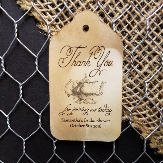 Thank you for joining us (my MEDIUM tag) 1 3/8 x 2 1/2 bridal shower baby Personalized Wedding Favor Tag choose your amount