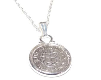 1938 80th Birthday / Anniversary 3D Threepence coin pendant plus 18inch SS chain 80th birthday, 80th birthday gift, 80th gift, 1938 gift,
