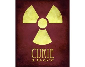 16x20 Science Art Marie Curie Rock Star Scientist Steampunk Print Radioactive Radiation Radioactivity Geek Scientific  Educational Diagram