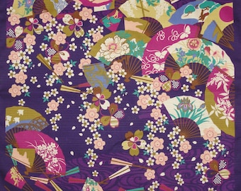 Kawaii Fabric Furoshiki Cloth 'Purple Fans' with Cherry Blossoms Cotton Japanese Fabric Purple Floral 50cm w/Free Shipping