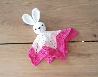 Crochet security blanket - bunny - rabbit - lovey - toddler toy - snuggle - newborn - safety blanket - pink lovey - woodland - baby toy