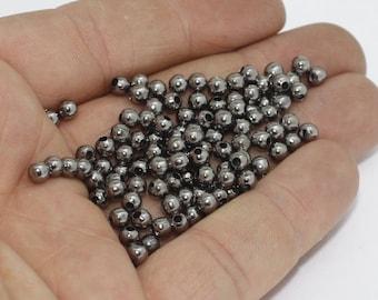 50 Pcs 4mm Gunmetal Spacer Beads , Gunmetal Round Beads, Mini Round Beads, Spacer Beads, gpg, FRY111