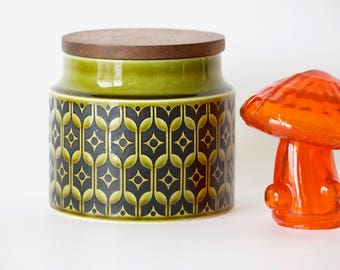 Green Patterned Ceramic Hornsea Canister