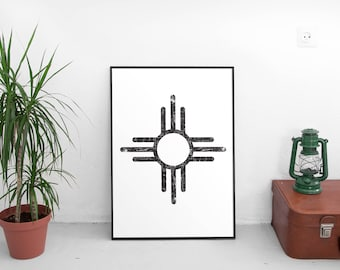 New Mexico Art, Black and white Art, Aztec, Southwestern, New Mexico, Poster, Printable, Aztec Art, Southwest Design, Design, Minimalist