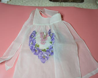 Vintage White Organdy Half Apron with Pockets of Fabric with Purple and Pink Flowers