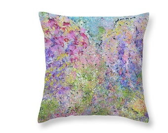 Pastel Hydrangea Throw Pillows, Floral Abstract Design