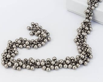 Antique Silver 4mm Ball Cluster Chain #CC108