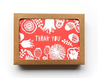 Thank You Card Box Set of 12, Christmas Thank You Card, Flower Greeting Cards, Line Drawing, Handlettered Thank You Cards, 3.5x5, Kraft
