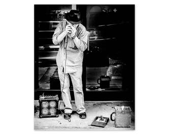 "Music Art, Black and White Photography, Harmonica Player, Street Photography, Nashville Print, Jazz Print, Music Wall Decor, ""The Blues"""