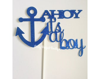 AHOY It's a boy centerpieces, baby boy centerpiece, baby shower centerpieces, gender reveal centerpieces, Ahoy centerpieces- 4 centerpieces