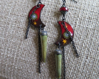 red moon earrings, boho earrings, unique earrings, dark earrings, red earrings, red & black earrings, chain earrings, red and olive jewelry