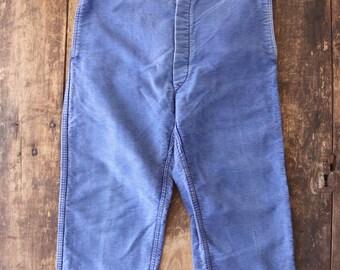 """Vintage 1950s 50s french blue bleu de travail moleskin trousers pants sun faded 32"""" x 24"""" suspender button fly Mont St Michel (2)"""
