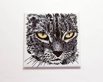 Cat Magnet, Cat Lover Magnet, Loves Cats, Kitchen Magnet, Fridge magnet, Magnet, Gift for cat lover, stocking stuffer, under 10 (7584)