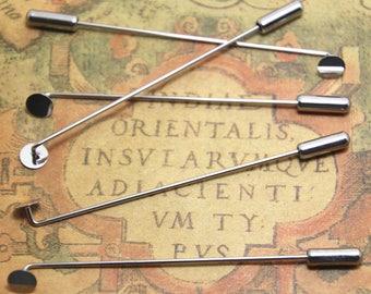 8pcs silver tone Lapel Pin Stick Pin Clutch 4x65mm With 5mm Pad ASD1441