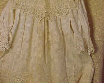 """Antique Childs Cotton Dress, 6 1/2""""    AS IS  #3384"""