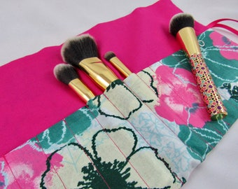 Cosmetic Brush Roll/Makeup Brush Roll/Travel Brush Organizer -Pink and Green Floral