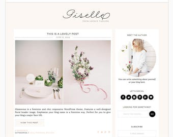 "Wordpress Theme Responsive Blog Design ""Giselle"" - Feminine and lovely"
