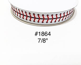 "3 or 5 yard - 7/8"" Sport Baseball Lace on White Grosgrain Ribbon Hair bow Craft Supply"