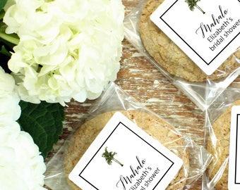 24 Vintage Palm Tree Cellophane Cookie Bags | Cellophane Cookie and Candy Bags | Vintage Palm Tree Label | Tropical Wedding Favor Bag