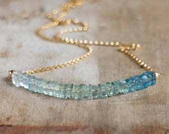 Bi colour Fluorite Necklace in Silver or Gold, Blue Green Ombre Necklace, Crystal Necklace, Bicolour Fluorite Jewelry, Crystal Jewellery