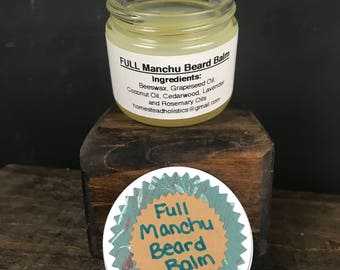FULL Manchu Beard Balm Essential Oils Beard Care Masculine Alopecia Hair Loss Soothing Conditioning Growth All Natural Chemical Free