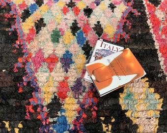 """FREE SHIPPING!!! """"DAISY"""" Boho Chic Rug Vintage Moroccan Boucherouite in Multi Colors (Los Angeles)"""