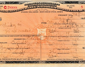 Authentic Whiskey Prescription May 5th 1924