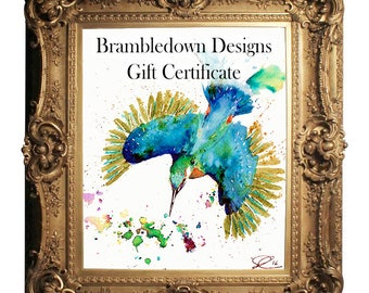 Commission Custom Gift Voucher, voucher download for custom watercolour, acrylic or pen and ink painting, Ideal last minute Christmas gift