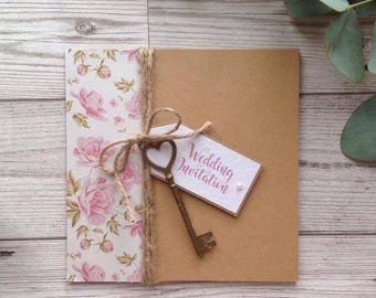 Floral key themed wedding stationery wedding invitation rustic pretty pink