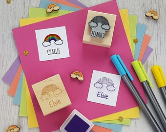 Personalised Children's Rainbow Rubber Stamp  - Personalized Rubber Stamp - Custom Stamper - Rainbow Rubber Stamp - Gift for Rainbow Lover