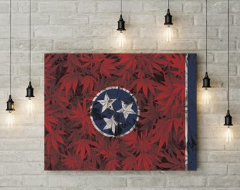 Weed Leaf Tennessee Flag Canvas