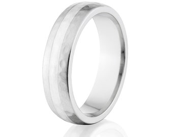 Hammered Finish Cobalt Ring with Silver Inlay Made In the USA Cobalt Wedding Band : Cobalt-6HR12G-HBB-Silver-Inlay