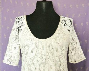 Vintage 80s 90s Dress Ivory Faux Bobbin Lace Cotton / Silk Lining Size S