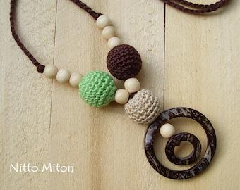 Nursing necklace Crochet wooden beads Teething necklace Babywearing necklace Breastfeeding mom Ring sling Kids Child Organic boho jewelry