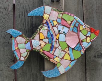 "Mosaic tropical fish ""Tropical Island"" garden,patio and home decoration"