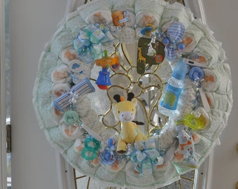 Deluxe Custom Safari Theme  Diaper Wreath by Posh Little Babies