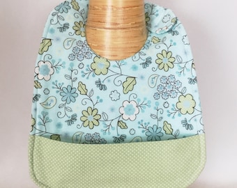 Blue Flower Baby Bib with Crumb Catcher