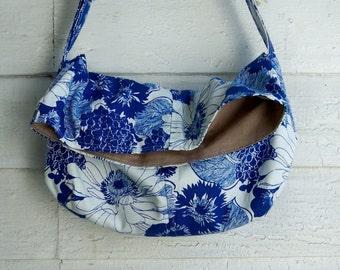 Vintage Blue and White Messenger Bag  - - - Vintage Canvas - Adj Strap - Key Fob