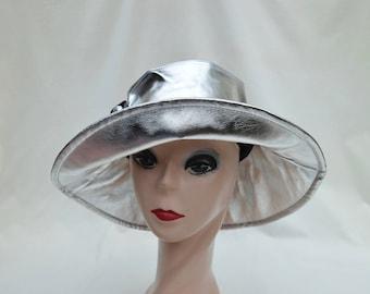 Women's Silver Metalic Nylon Waterproof Rain Hat / Metalic Silver Rain Hat / Fashion Rain Hat / Chic Women's Winter Weather Water Proof Hat
