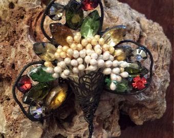 Vintage floral basket brooch