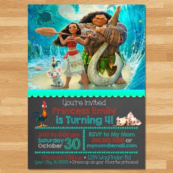 Universal image for free printable moana invitations
