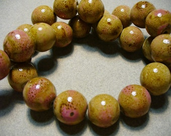Porcelain Beads Pink and Brown 14MM