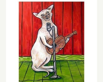 cat art - Siamese Cat Singer Songwriter Art Print, cat gifts, gift