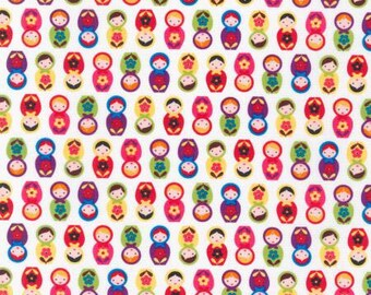 "Robert Kaufman Fabric ""Mini Nesting Dolls"" by Suzy Ultman-One Yard Cut - Bright, Suzys mini collection, nesting doll fabric"