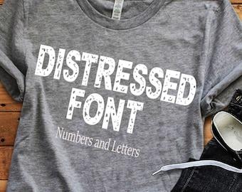 Distressed font svg, grunge font, alphabet svg, Vintage font svg, monogram font numbers, distressed numbers svg, cricut, silhouette Eps Dxf