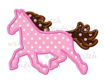 Pony horse applique machine embroidery design instant download