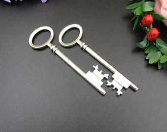2PCS 80x22mm Large Silver Key Charms 2 Sided-p1787